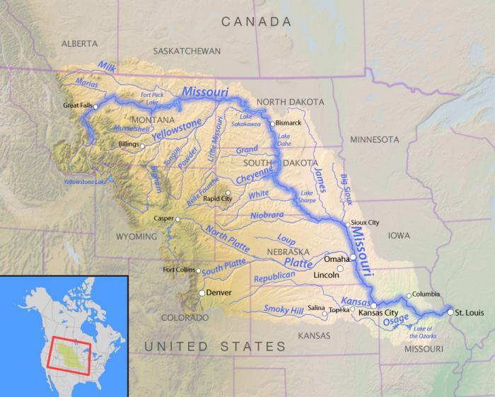 Gdje Rijeka Missouri Na Karti Karakteristike Rijeke Missouri